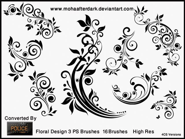 优雅的植物印花Photoshop手绘花纹笔刷