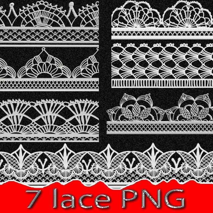 7种刺绣式蕾丝花边、花纹图案PS笔刷下载(PNG文件格式)