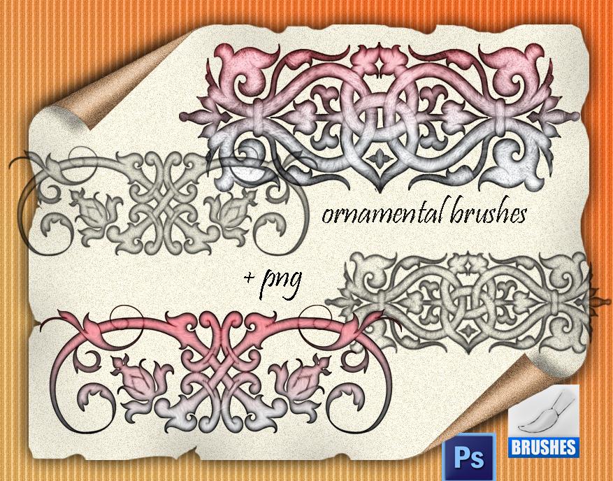 欧式贵族植物印花、经典富丽堂皇的花纹装饰PS笔刷下载