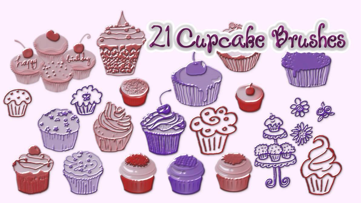 21种卡通纸杯蛋糕图案Photoshop可爱蛋糕笔刷