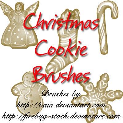 圣诞节姜饼、圣诞节雪花、袜子、拐杖等装饰PS笔刷下载