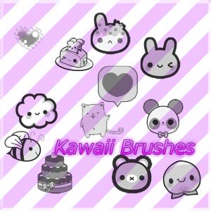 可爱卡通点心图案、呆萌小白兔、小熊熊装饰PS美图笔刷