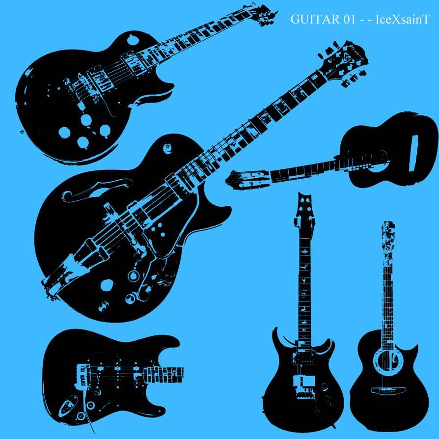 电吉他、贝斯图形PS音乐乐器笔刷下载