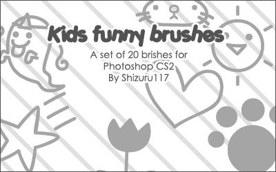 幼稚可爱的照片涂鸦笔记装饰PS笔刷下载