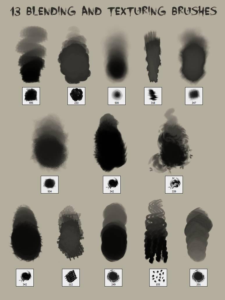 13种混合纹理可用于着色,纹理,平滑,线条等PS笔刷素材