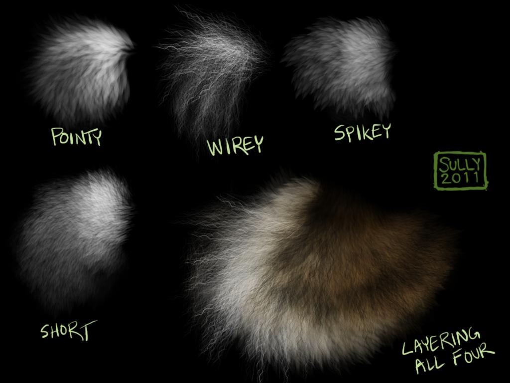 高级毛皮、绒毛效果纹理PS笔刷素材免费下载