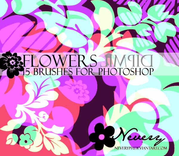 花开富贵的鲜花花朵印花图案PS笔刷下载