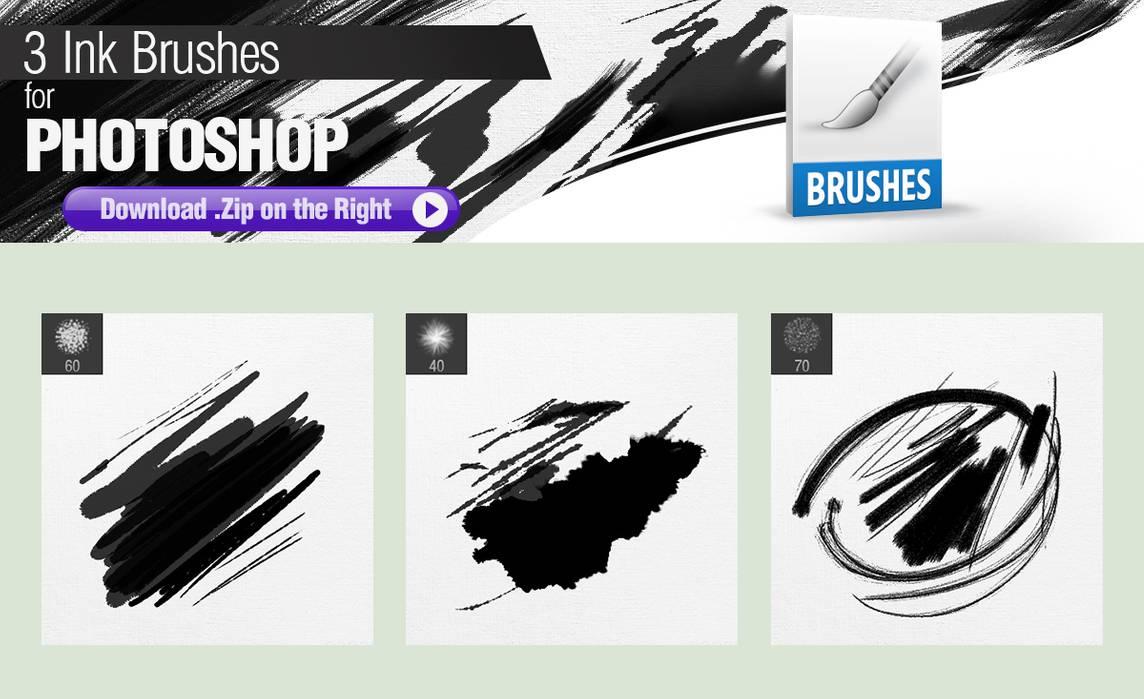 3种像素着色的Photoshop油墨笔刷素材