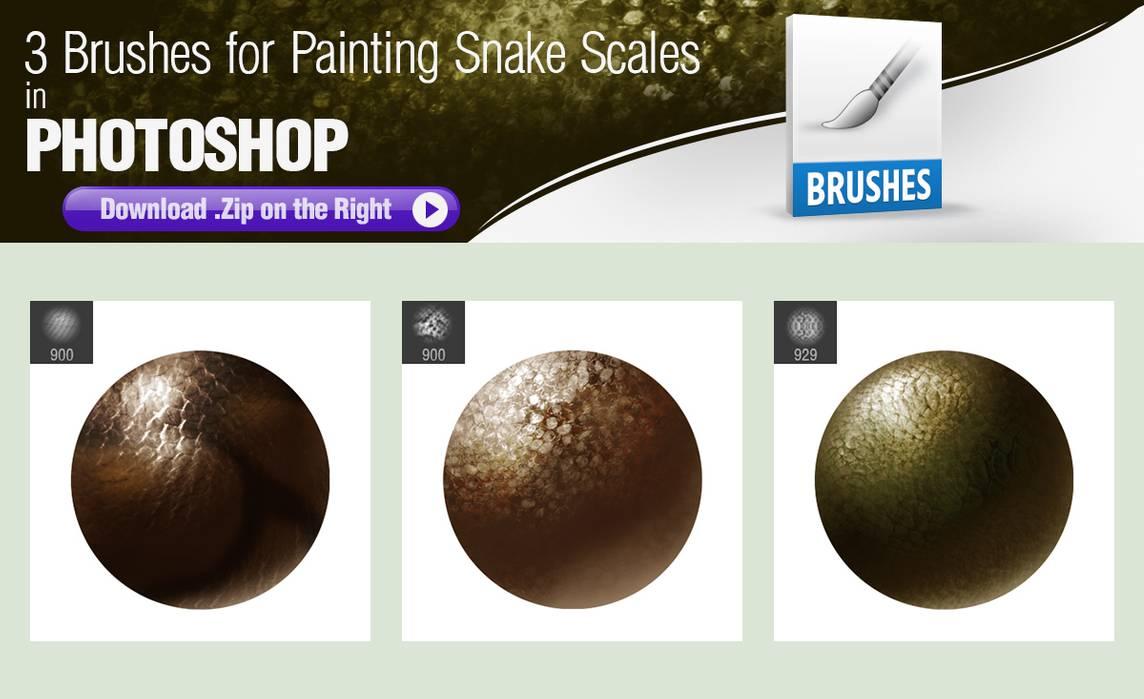 3种蛇皮肤纹理、蛇鳞甲材质PS笔刷素材