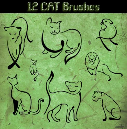 12种创意猫科动物、狮子、猫咪涂鸦图案Photoshop笔刷素材