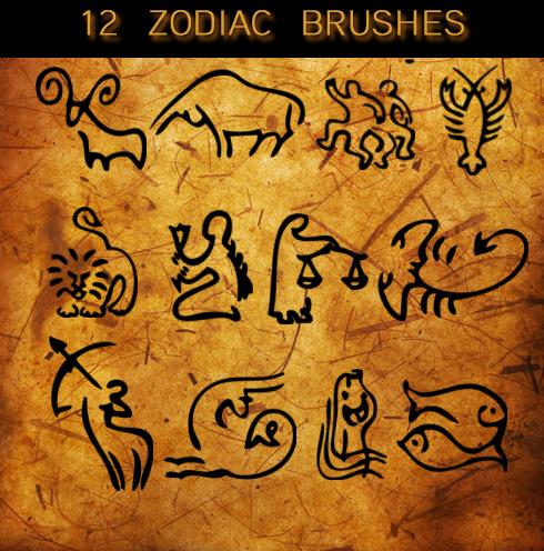可爱12星座涂鸦图形Photoshop笔刷素材
