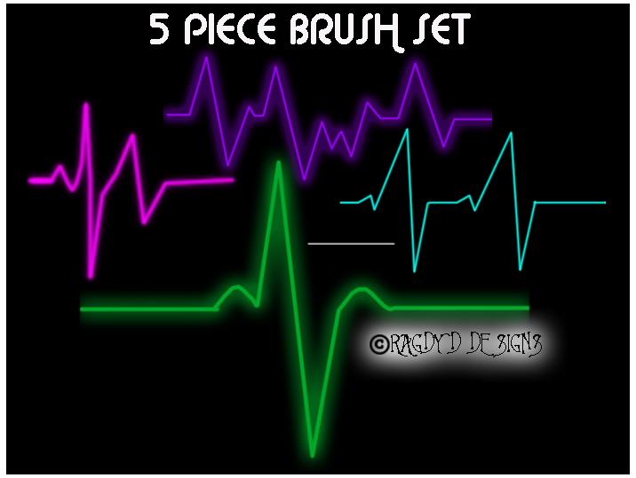 5种心跳折线图、心电图PS笔刷下载