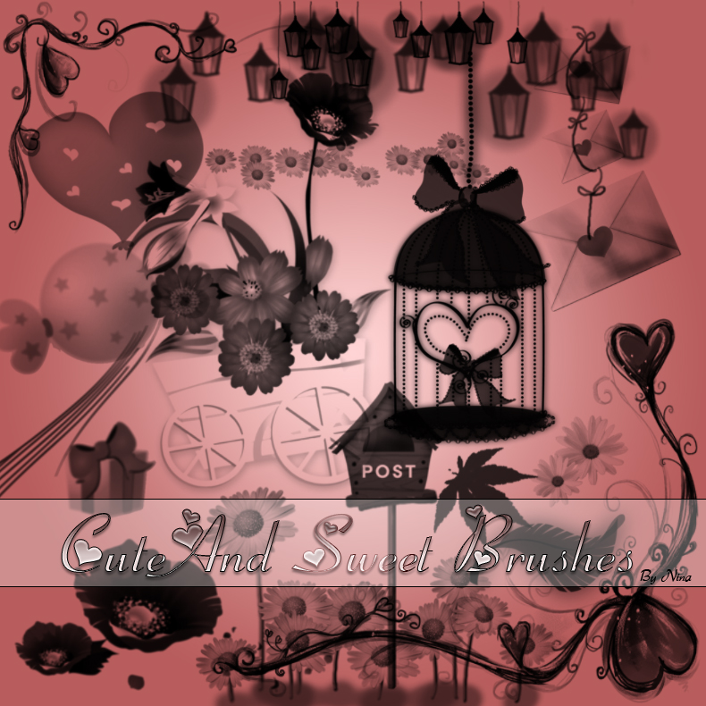 可爱甜蜜的背景装饰图案PS美图笔刷