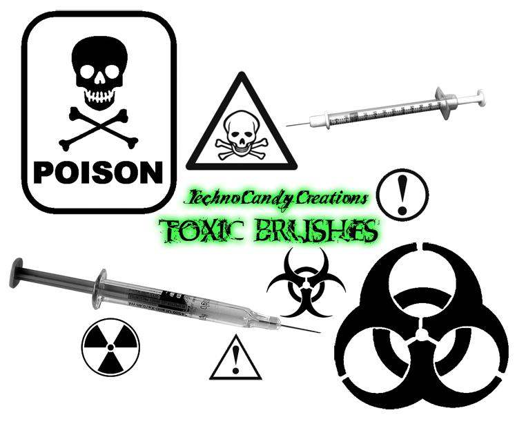 中毒标志、有毒标识图案、核污染、生化危机标识PS笔刷下载