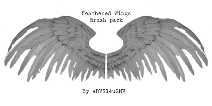 天使羽翼翅膀、鸟人翅膀PS 笔刷素材下载