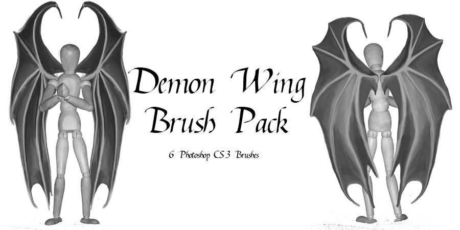 邪恶魔鬼翅膀、地狱领主翅膀PS笔刷素材