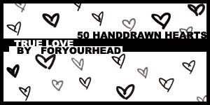 50种可爱的手绘爱心图案PS笔刷下载