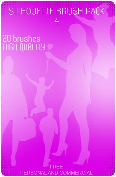 20种社交人员剪影图形PS笔刷素材下载