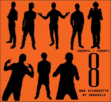 8个男性剪影图形PS笔刷素材