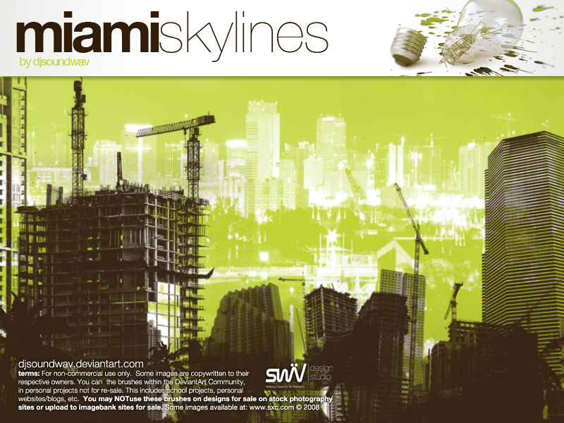 迈阿密城市天际线高分辨率PS素材笔刷下载
