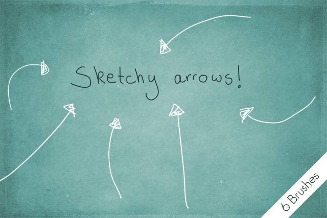手绘涂鸦箭头标记PS笔刷素材