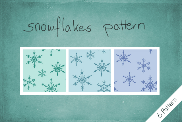 3种卡通冰晶雪花印花图案Photoshop填充背景素材下载