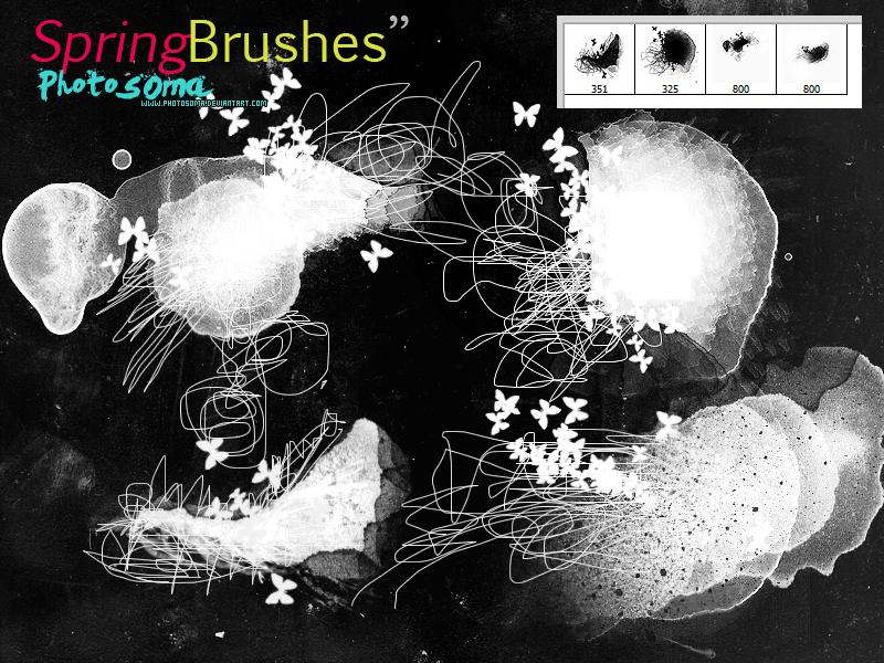 非主流涂鸦蝴蝶水墨痕迹混乱线条组合PS笔刷素材