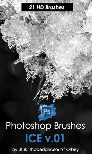 21结冰纹理、冰冻、冰凌效果PS笔刷素材