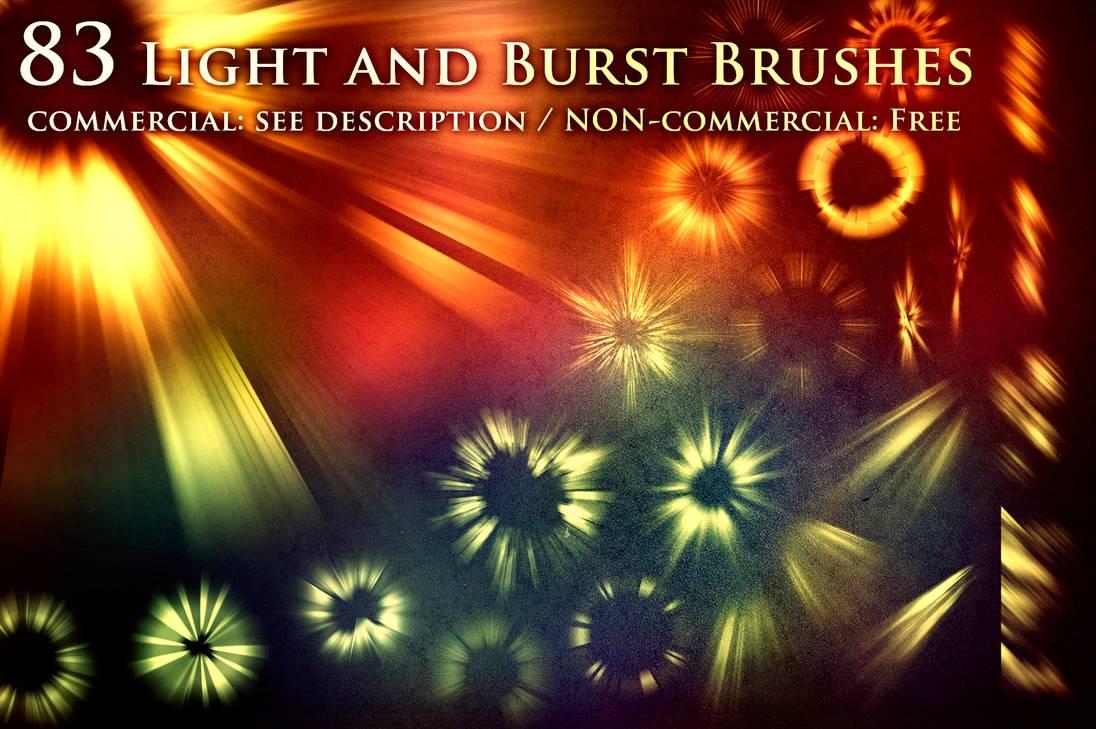 83种光束、光耀、光圈四射效果PS笔刷素材