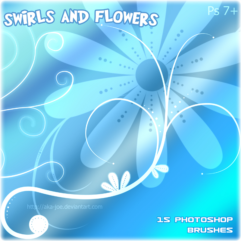 漩涡鲜花植物花纹、印花PS笔刷下载