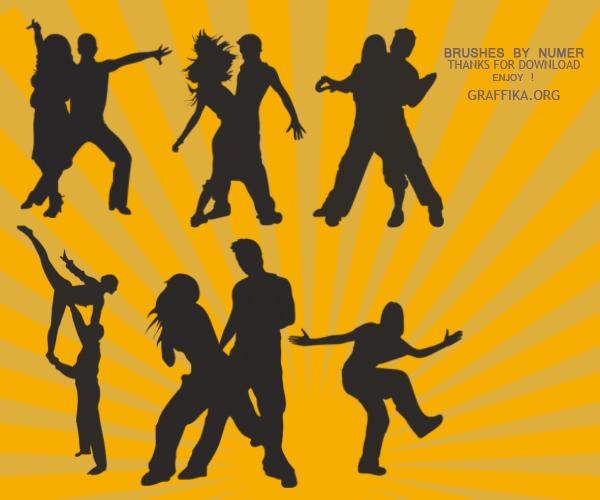 疯狂舞会剪影、晚会舞厅、聚会元素PS人像轮廓笔刷素材