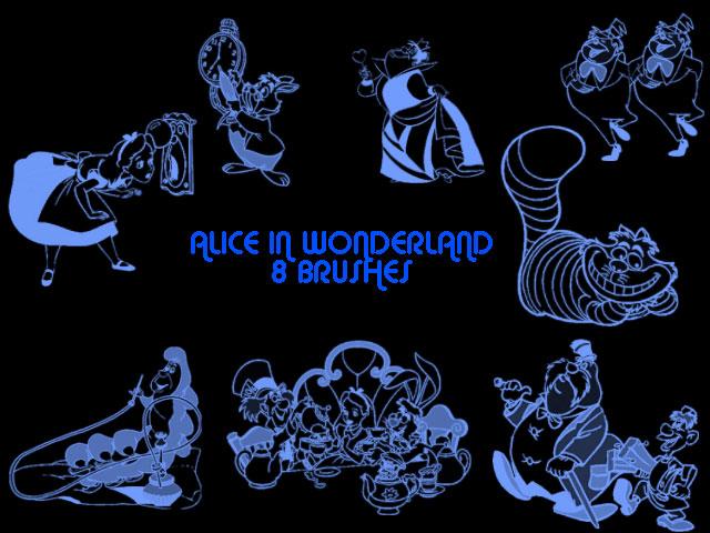 爱丽丝梦游仙境动画人物PS可爱卡通美图笔刷素材