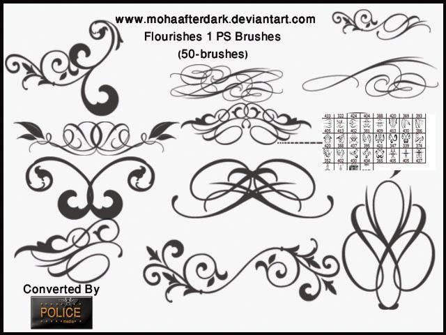 精美的植物印花花纹、优雅花纹图案PS笔刷素材