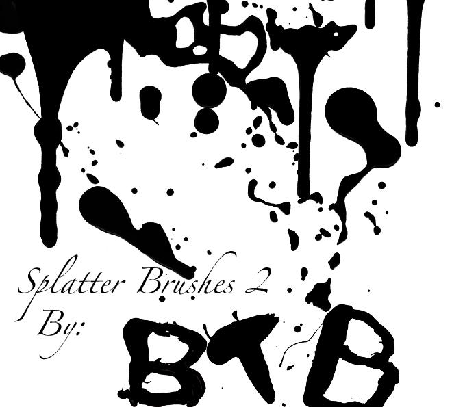油漆喷溅、水墨滴溅材质图案PS笔刷素材