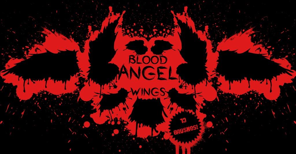 血腥天使的翅膀、血天使羽翼图案PS笔刷素材