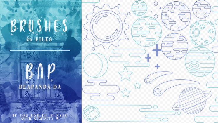 26个手绘星星、星球、太阳、流星等PS卡通宇宙元素笔刷