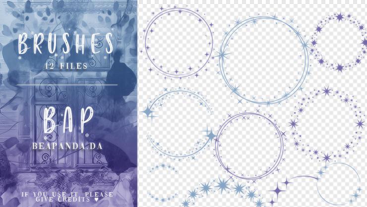 12种星光花圈图案PS笔刷素材