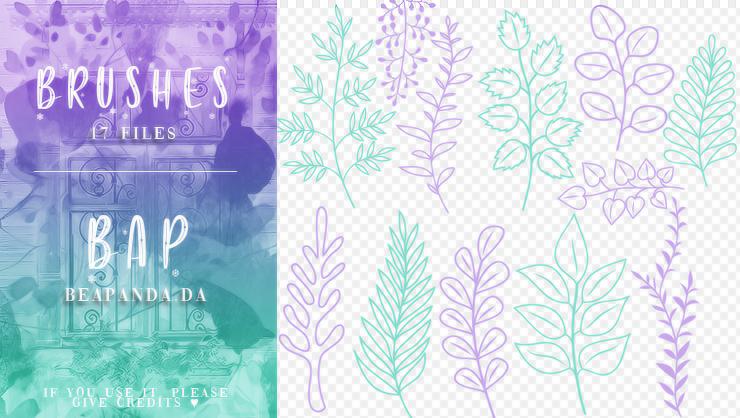 17种手绘植物叶子图案印花PS笔刷素材
