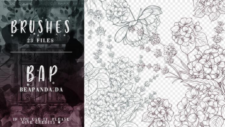 23种富贵花朵盛开图案PS笔刷素材