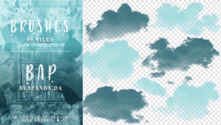 9种真实天空云彩、云朵剪影图形PS笔刷素材