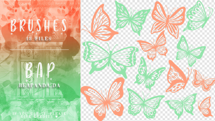 18种蝴蝶花纹、彩蝶图案PS笔刷素材
