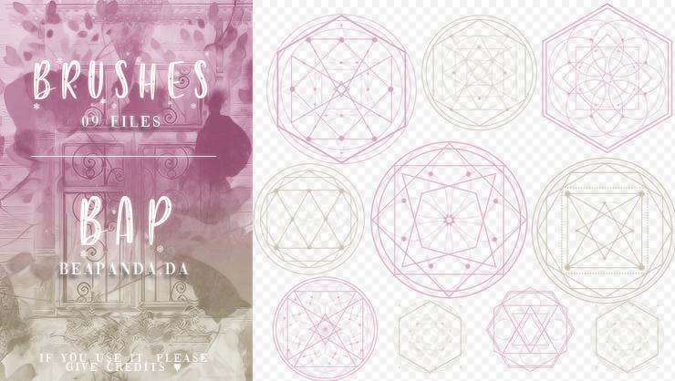 9种魔法阵、五芒星阵、对称点状花纹图案PS笔刷素材