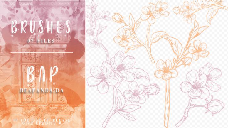 手绘漂亮桃花花纹、花束PS笔刷素材
