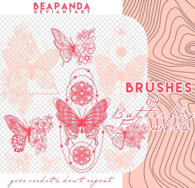 精美蝴蝶花纹图案、线条蝴蝶艺术PS笔刷素材