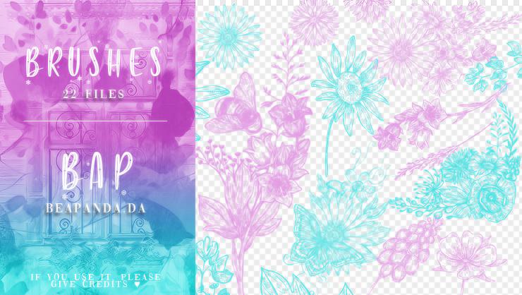 22种盛开的鲜花花丛图案PS手绘花朵笔刷