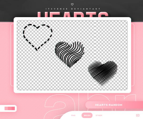 3种非主流爱心、心形图案效果PS笔刷素材