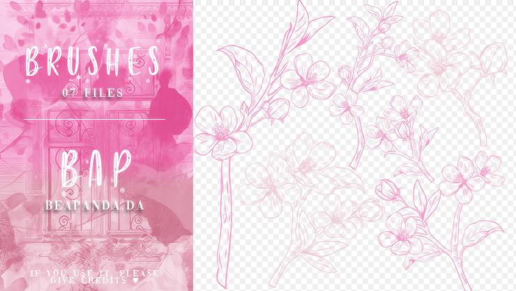 7种手绘桃花花朵花纹图案PS笔刷素材