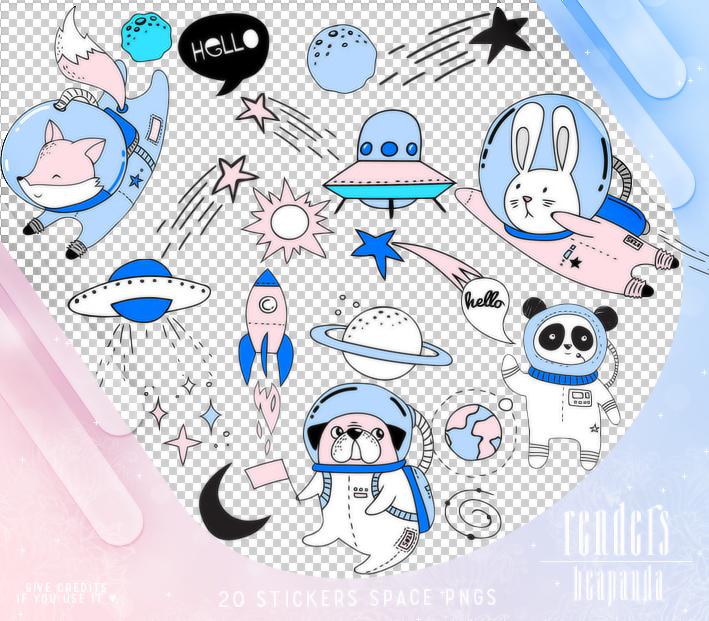 可爱卡通宇宙卡通元素PS美图笔刷(PNG图片格式)
