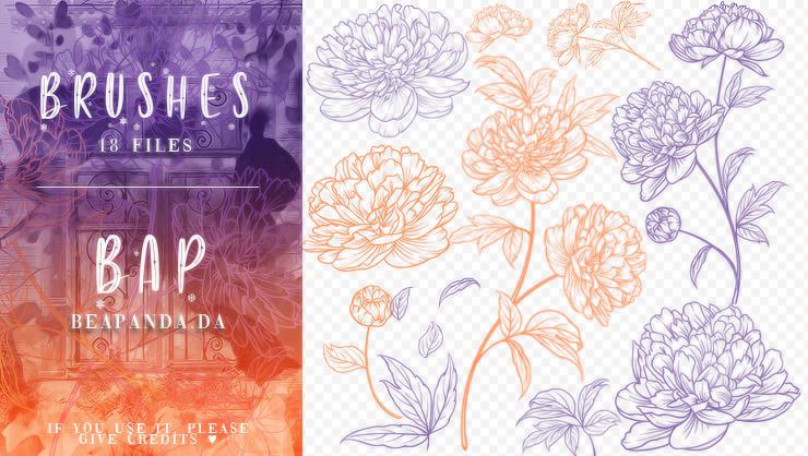 18种手绘盛开的鲜花花朵图案PS笔刷素材