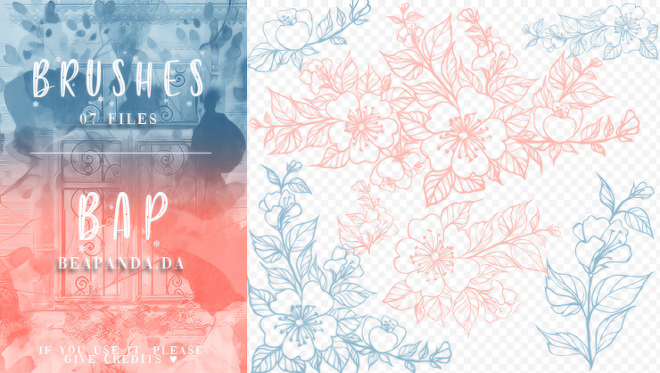 7种漂亮鲜花花朵图案Photoshop笔刷素材